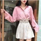 Plain Shirt / High Waist A-line Skirt
