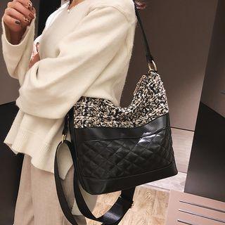 Tweed Panel Quilted Bucket Bag