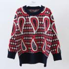 Long-sleeve Pattern Sweater Red - One Size