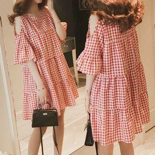 Shoulder Cut Out Check Elbow-sleeve A-line Dress