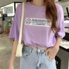 Short-sleeve Printed Elastic-waist Crop Top