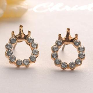 Diamond Crown Earrings - Gold Gold - One Size