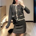 Plaid Cardigan / Knit Pencil Skirt