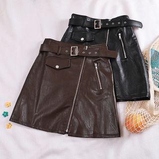 Zip Faux Leather A-line Skirt + Belt