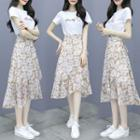 Set: Lettering Short-sleeve T-shirt + Floral Chiffon Midi Skirt