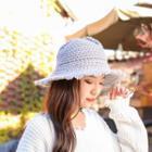 Scallop Trim Knit Brim Hat