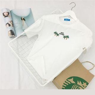 Embroidery Round-neck Short-sleeve Top