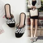 Rhinestone Platform Wedge Slippers