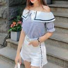 Elbow-sleeve Frill Trim Cold Shoulder Top