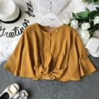 Twist-front Cape Chiffon Blouse