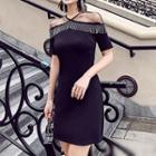 Mesh-panel Halter Dress