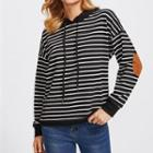 Elbow-applique Striped Hoodie