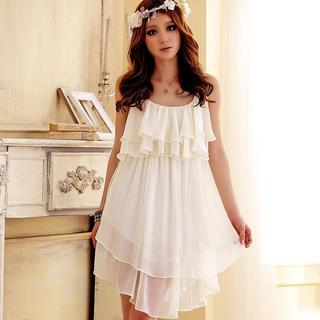 Sleeveless Ruffled Chiffon Dress