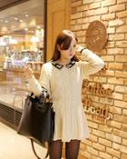Contrast-collar Knit Dress