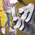 Lettering Platform Hidden Wedge Sneakers