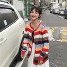 Striped Light Cardigan As Figure - One Size