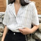 Short-sleeve Plaid Lapel Collar Shirt