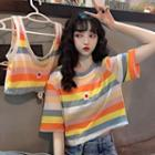 Flower Embroidered Striped Short-sleeve Cropped T-shirt / Tank Top