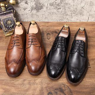 Faux-leather Lace-up Wingtip Dress Shoes
