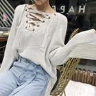 Plain Lace-up Bell-sleeve Sweater