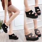 Cutout Faux-leather Platform Sandals