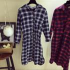 Drawstring Waist Plaid Long Shirt