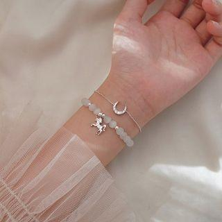 Set: 925 Sterling Silver Unicorn Cat Eye Stone Bracelet + Rhinestone Moon Bracelet