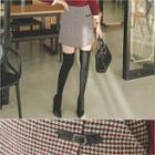 Buckle-trim Houndstooth Mini Skirt