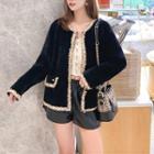 Tweed Trim Knit Jacket