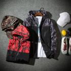 Camouflage Panel Hooded Lettering Zip Jacket