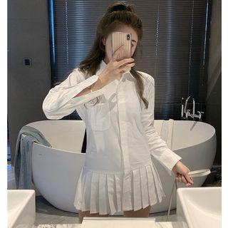 Pleated-hem Mini Shirtdress White - One Size