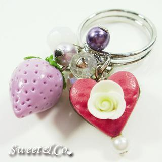 Sweet Purple Strawberry Pearl Silver Ring