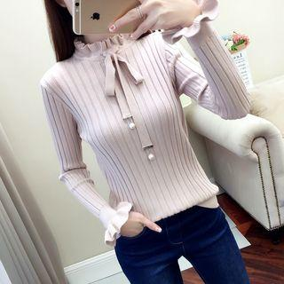 Frilled Cuff Lace-up Ribbed Knit Top