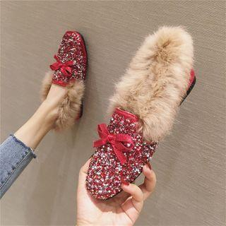 Sequined Fluffy Loafers
