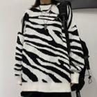 Zebra Pattern Long-sleeve Knit Top