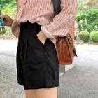 Pintuck Front Shorts With Belt