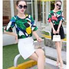 Set: Elbow-sleeve Patterned Top + Mini Skirt