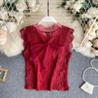 Sleeveless Bow Collar Lace Top