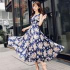 Printed V-neck Sleeveless Chiffon Maxi Dress