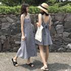 Check Sleeveless A-line Dress / Midi Dress