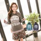 Lettering Striped-trim Hooded Top