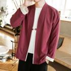 Contrast Trim Single-button Jacket