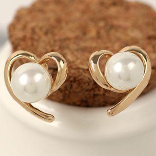 Heart Faux Pearl Earrings
