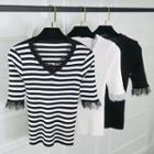 Plain / Striped Elbow-sleeve Lace Panel Knit Top