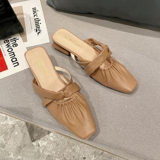 Shirred Buckled Mules