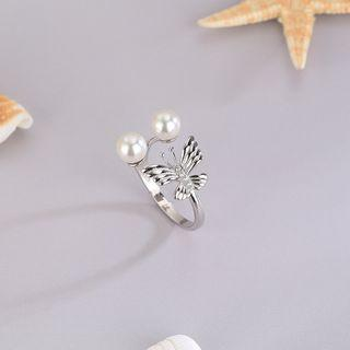 925 Sterling Silver Faux Pearl Ring Rs514 - Silver - One Size