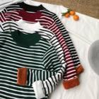Long-sleeve Fleece-lined Striped Knit Top