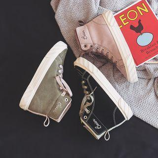 Letter Embroidered High-top Sneakers
