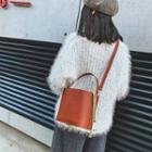 Faux Leather Bucket Bag Brown - One Size