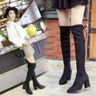 Pointy Toe Chunky-heel Thigh High Boots